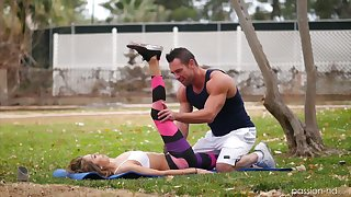 Alluring fitness instructor gives a massage and fucks awesome hottie Kara Faux
