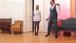 Blonde punctiliousness in the matter of nylons Cecilia Scott blows and rides an older guy