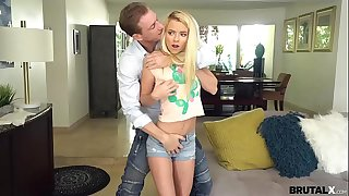 handsome guy comes home and his blonde woman jumps uppish hard penis