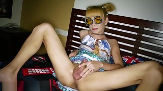Stylish and funny ladyboy in blonde send someone away gets barebacked