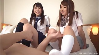 Ogawa Rio and her slutty girlfriend transform on one lucky cock