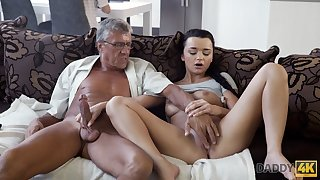 DADDY4K. Erica Black has immoral mating with BFs sky pilot behind