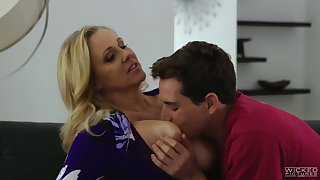 Graceful buxom blonde MILF Julia Ann rides flannel of her ex spouse