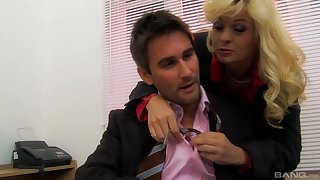 Sexy milf secretary Mandy Saxo enjoys sex with her boss in his office