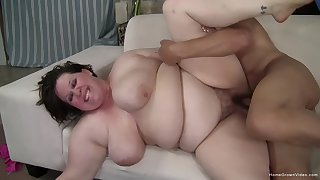 Fat woman gets fucked in their way hairy cunt then jizzed