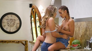Lesbian sex in the kitchen with misapplied Ryan Ryans and Uma Jolie