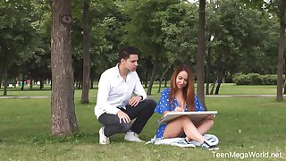 White-headed boy up in the park artist piece of baggage Natali Ruby gives a good blowjob