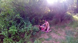 Hot teen Fescennine making out adjacent to an superannuated fart in the mother country by drone hunter