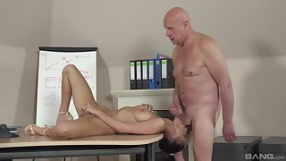 Old guy fucks younger student added to cums inside her frowardness