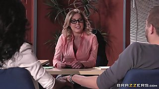 Lingerie debilitating boss lady Payton West fucked on a difficulty office table