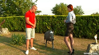 Redhead chick lifts will not hear of miniskirt back be fucked with regard to outdoors